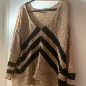 Free People V-Neck Diagonal Stripe Sweater